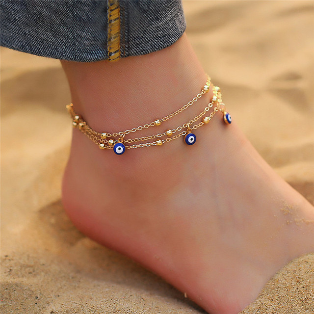 Bohemian Colorful Turkish Eyes Anklets for Women Gold Color Beads Summer Ocean Beach Bracelet 1