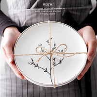 Continental retro minimalist plate creative original household ceramic bone china plate tray dish plate Western style