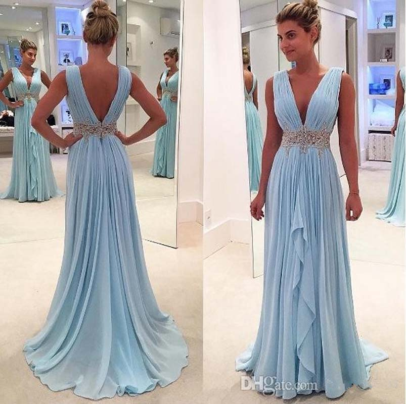 Sky Blue 2019 Prom   Dresses   Deep V-neck Chiffon Flange Part Maxys Plus Size Long Prom   Dress     Evening   Gowns   Evening     Dress