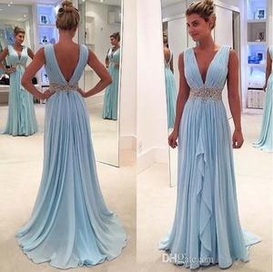 Image 1 - שמיים כחולים שמלות נשף עמוק V צוואר שיפון מקורבות חלק Maxys בתוספת גודל ארוך נשף שמלת ערב שמלות שמלת ערב
