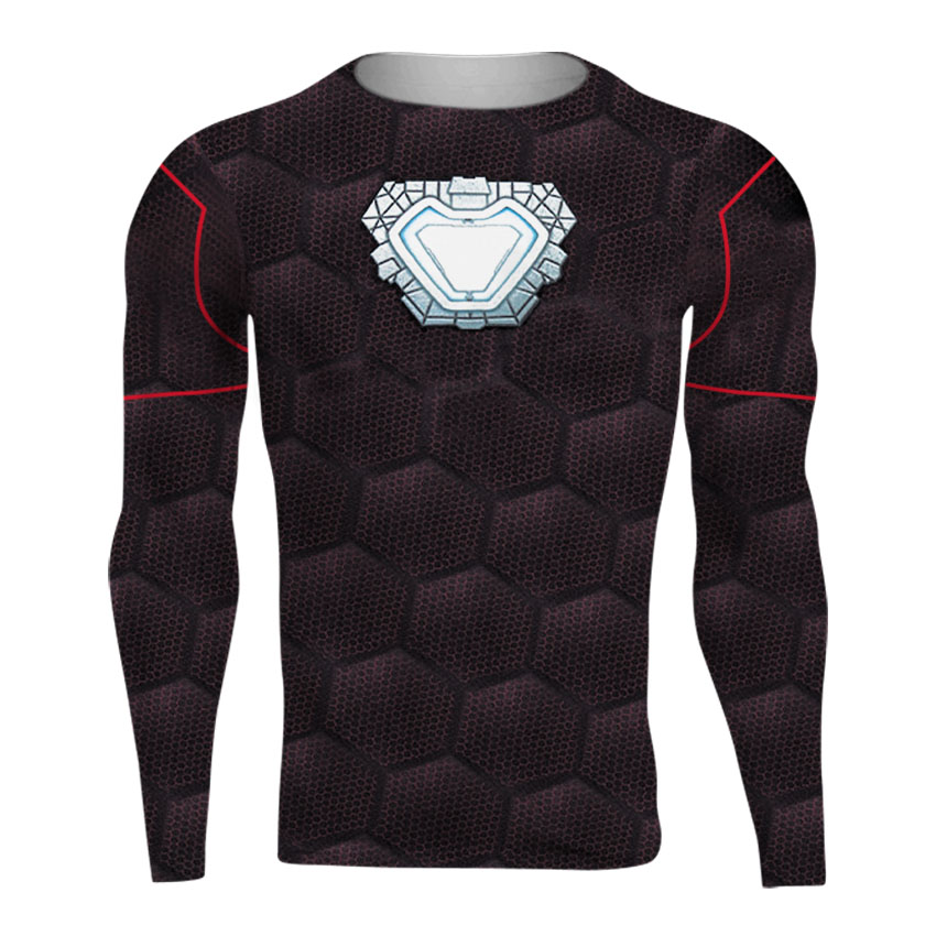 Raglan Sleeve Avengers 3 Iron Man 3D Printed T shirts Men Compression Shirts 2018 Crossfit Top For Male Cosplay Costume Clothing