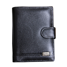 Fashion New Genuine Leather Men's Wallet , Brand High quality Large Capacity Vertical black coin pocket Passport purse wallets