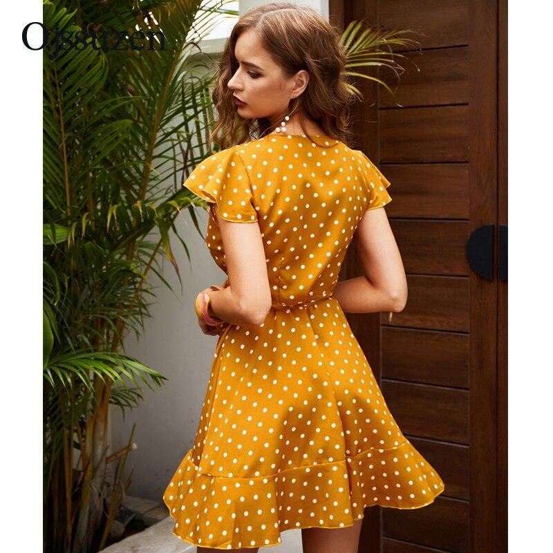 Sexy A Line Dress For Women Deep V Neck Summer Dresses Ruffles With Dot Lace Up Mini Woman Dress Yellow