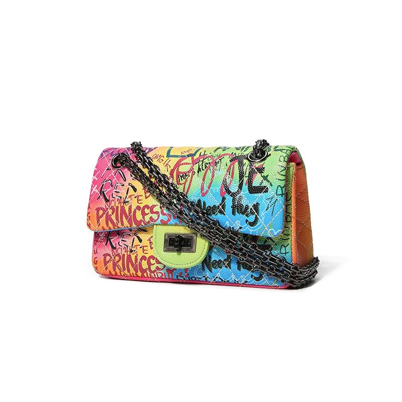 Famous brand bags designer female handbags for women 2019 Graffiti Printed Shoulder Bag Fashion caviar crossbodybags women's bag