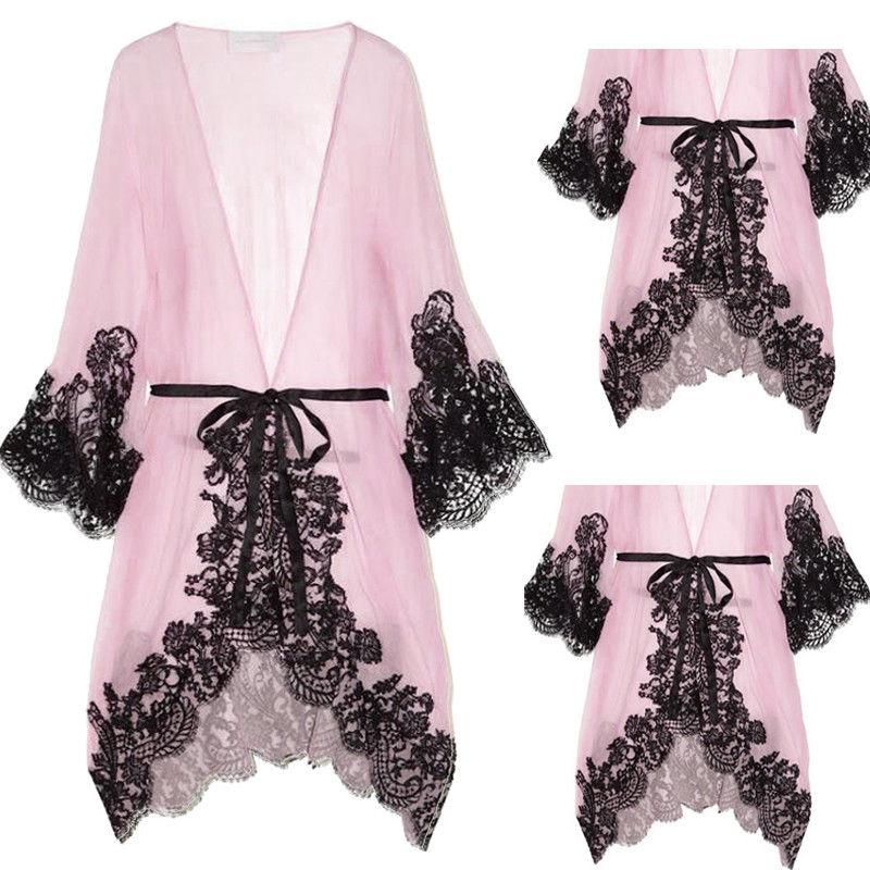 Hot Sexy Womens Lace Pink Bath Robe Chemise Lingerie Dress Summer Nightwear Underwear Babydoll Sleepwear G-string