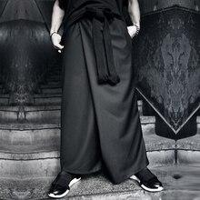 Original design male culottes personality harem pants trousers autumn black