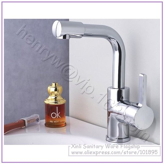 L16320 - Luxury Brass Basin Faucet Hot & Cold Water Mixer Deck Mounted 360 Degree Rotation Spout Basin TapL16320 - Luxury Brass Basin Faucet Hot & Cold Water Mixer Deck Mounted 360 Degree Rotation Spout Basin Tap