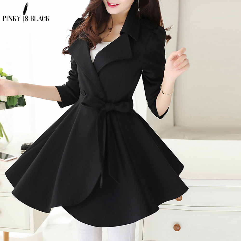PinkyIsBlack Elegant Ruffle Turn Down Collar Trench Coat Women Sash High Waist Autumn Winter Long Sleeve Skirt Coat Female