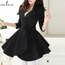 купить PinkyIsBlack Elegant Ruffle Turn Down Collar Trench Coat Women Sash High Waist Autumn Winter Long Sleeve Skirt Coat Female онлайн