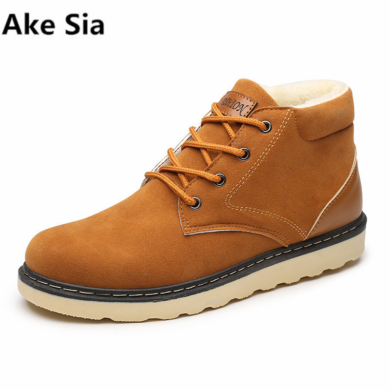 Ake Sia Super Winter Warm Fur Men Snow Boots Flat Heels plush ankle boots Winter autumn Casual mens Shoes ...