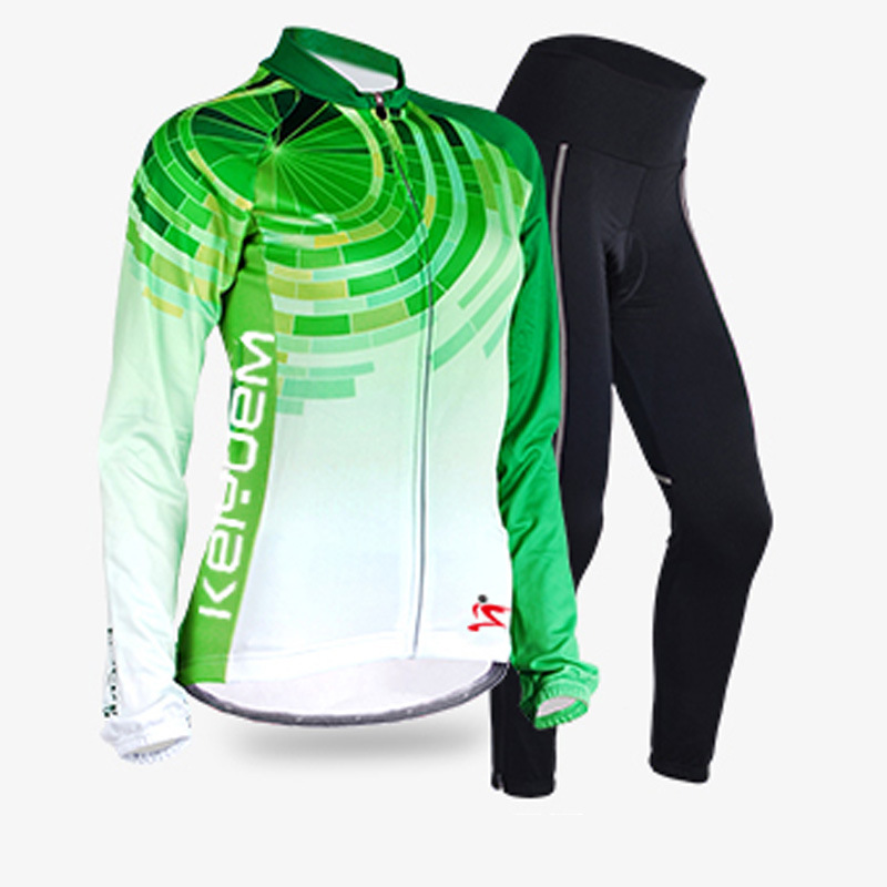 New Pro Thin Long Sleeve Cycling jersey Sets Women Green Sportswear Mtb Bike Bicycle 3D Gel