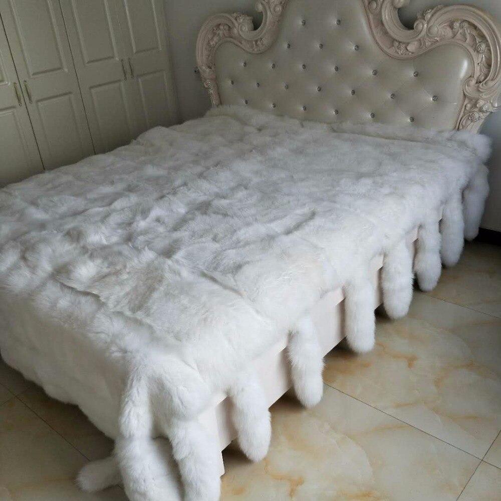 2x2,5 см Высокое качество белый мех лисы пластины кожи/мех одеяло для кровати