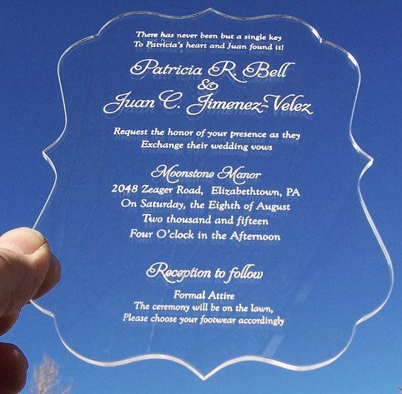 Acrylic wedding invitation customized fancy shape