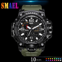 SMAEL Top Brand Luxury Dual Display Watches Mens Military Fashion Quartz Watch Men Resistant Sports Style Digital Clock Relogio