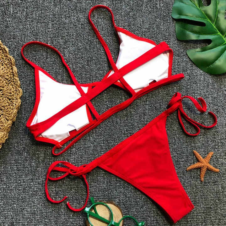 Luoanyfash 2018 chaud Sexy brésilien Bikinis femmes maillots de bain Bandage maillot de bain Push Up maillot de bain Bikini ensemble string bas costume