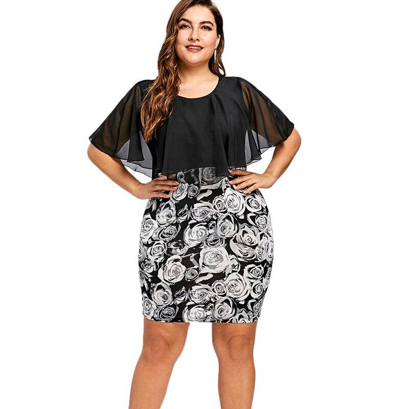 Wipalo Plus Size 5XL Rose Print Bodycon Chiffon Cape Dress Women Big Size  Party Mini Short Dresses Work Wear Office Robe Femme-in Dresses from  Women s ... 5e7c0d0cabf9