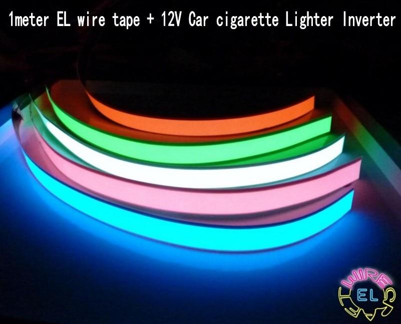 1m 12V Inverter Flexible EL Tape Light Glow EL Wire Rope Cable Led Strip Lights 12V Car Cigarette Lighter Inverter Decoration
