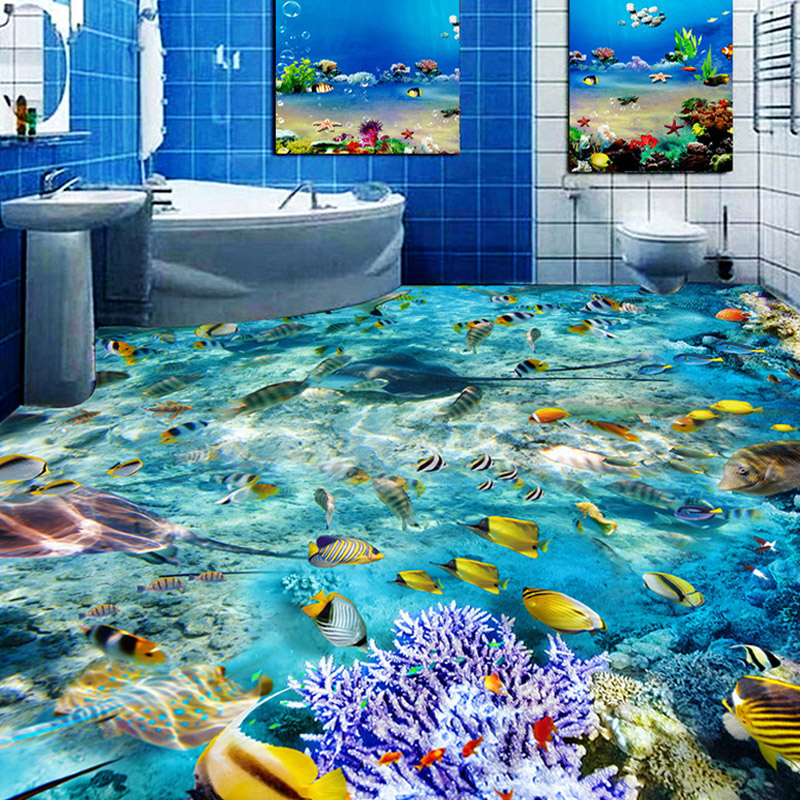 Custom Flooring Mural Wallpaper Undersea World Fish Coral Toilets Bathroom Bedroom 3D Floor Murals PVC Waterproof Self-adhesive