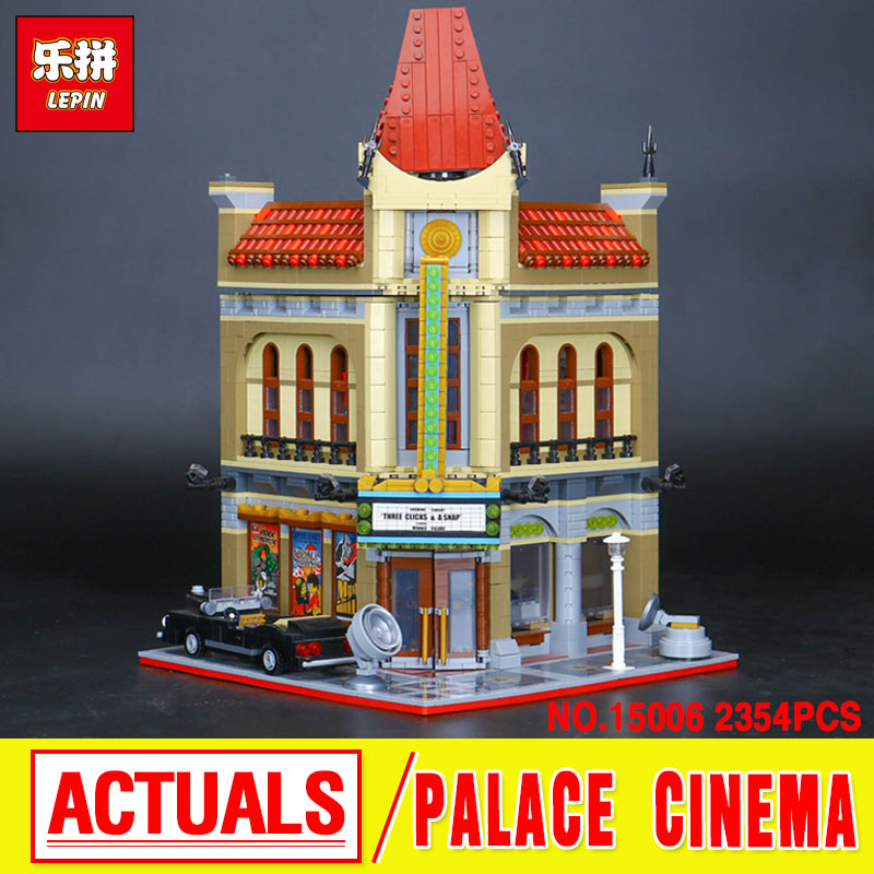 LEPIN 15006 City Street  Palace Cinema Model Building Blocks set  Bricks Compatible with 10232 Educational Gift Toys bricks lepin 02012 city deepwater exploration vessel 60095 building blocks policeman toys children compatible with lego gift kid sets