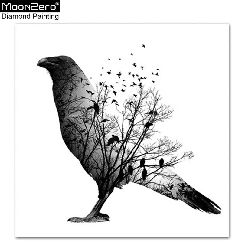 5d Diy Diamond Painting Tree Bird Black And White Style Full Drill