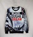 gymshark hoodie vetement homme autumn/winter crewneck casual hoodies 3D Print letter work hard dream sweatshirt