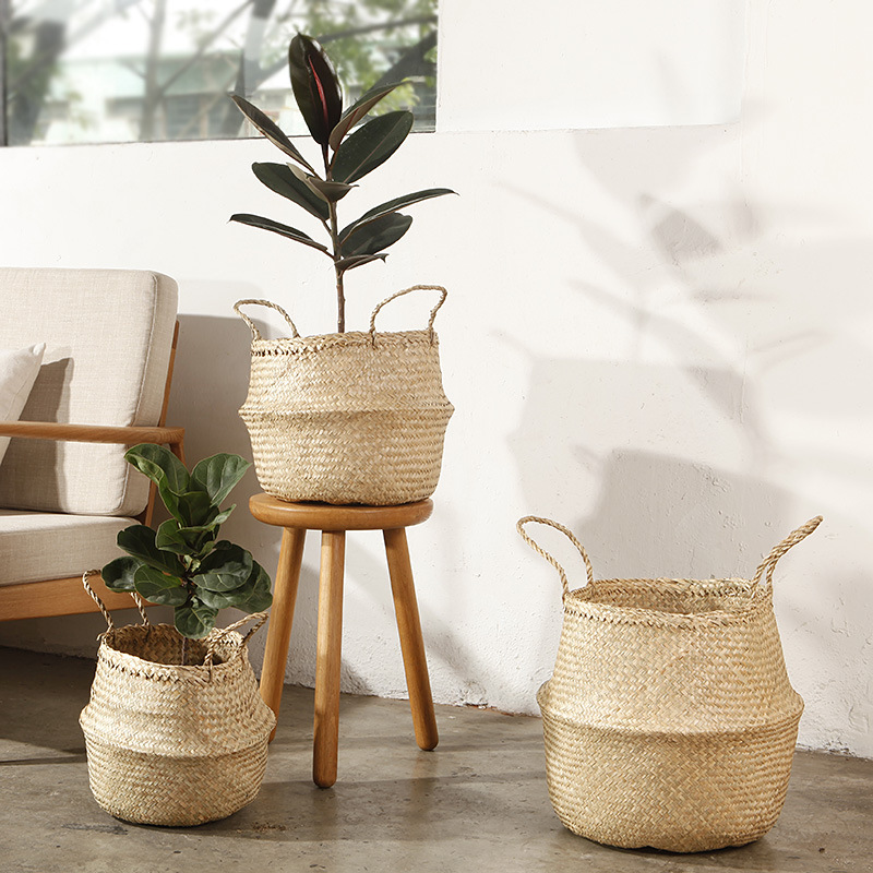 Handmade rattan storage basket foldable seagrass straw for Seagrass for landscaping