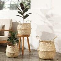 Handmade Rattan Flower Plant Basket Foldable Seagrass Straw Hanging Woven Basket Home Storage Garden Decor Nursery