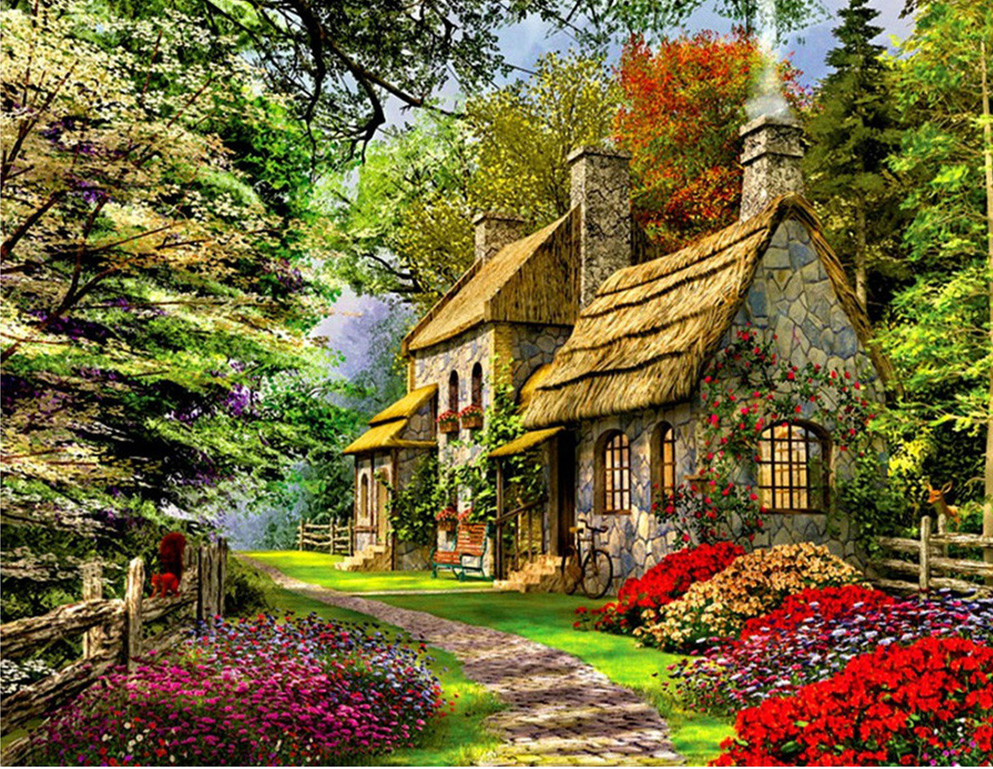 Beautiful Garden Landscape Oil Painting Wall Art Canvas Oil Cabin In The Woods Modern Painting Home Decor High Quality No Framed