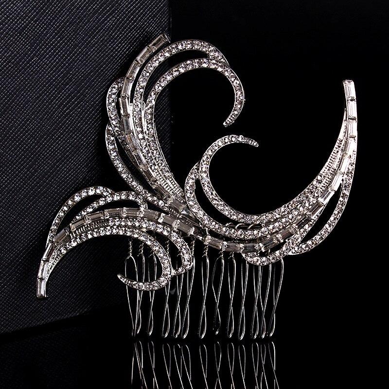 Stunning New Arrival Art Deco Silver Clear Rhinestones Crystals Flower Wedding Hair Comb Bridal Hair Accessories Women Jewelry серьги art silver art silver ar004dwzmh30