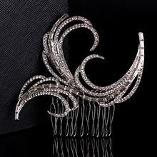 Stunning New Arrival Art Deco Silver Clear Rhinestones Crystals Flower Wedding Hair Comb Bridal Hair Accessories