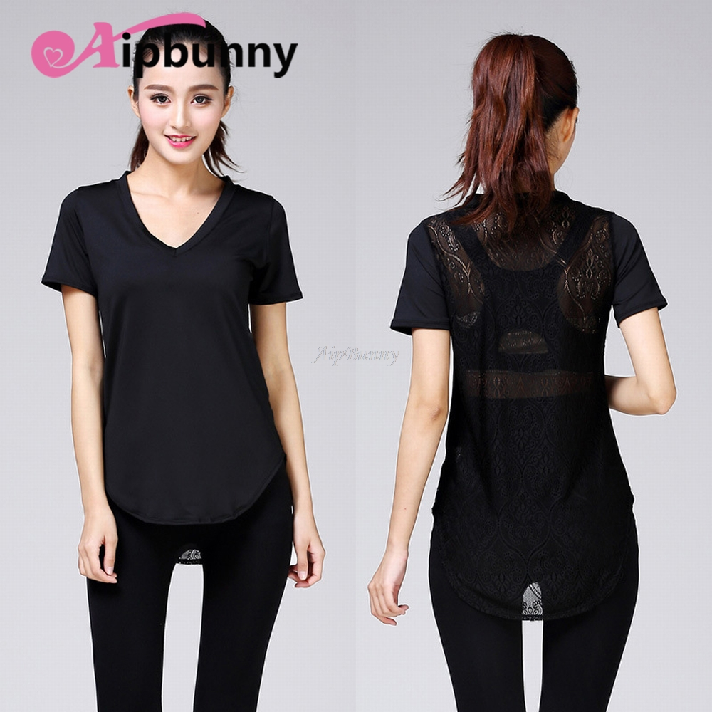Aipbunny Yoga Shirt Fitness Sport Jogging Breathable Women Top Loose Mesh T Shirt Net Short Sleeve V Neck Workout ...