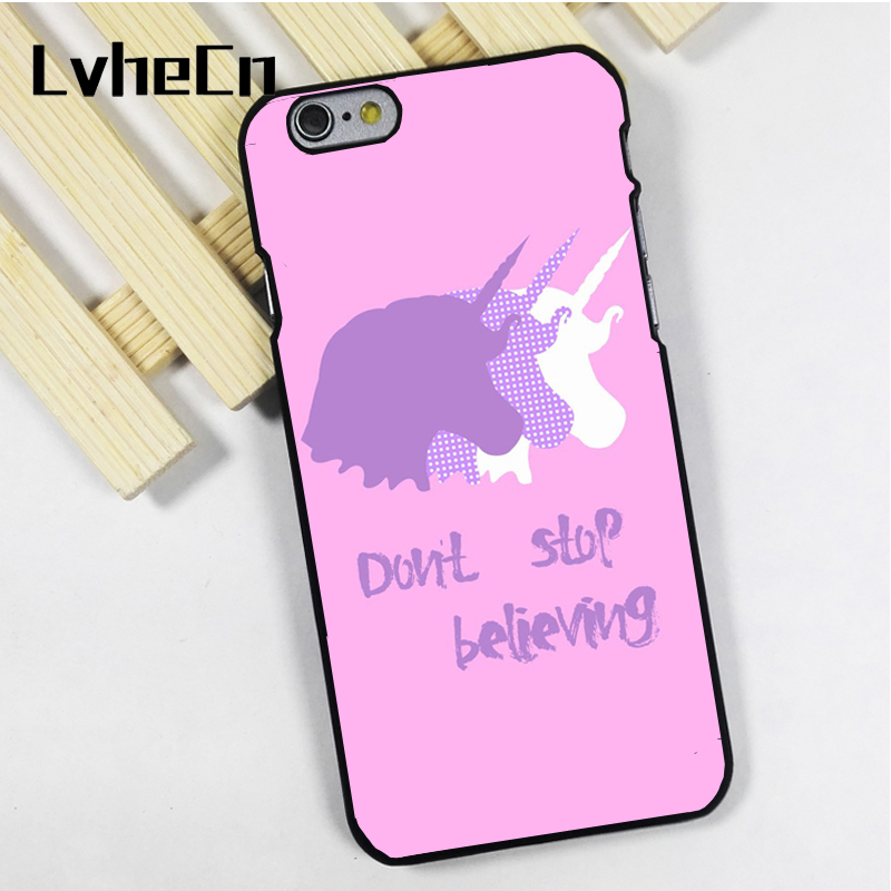 LvheCn phone case cover fit for iPhone 4 4s 5 5s 5c SE 6 6s 7 8 plus X ipod touch 4 5 6 Dont Stop Believing Unicorn Quote