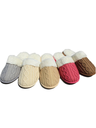 Cable Knitted Slipper Women Indoor Home Shoes 4 Colors 3 Size Fit Eu