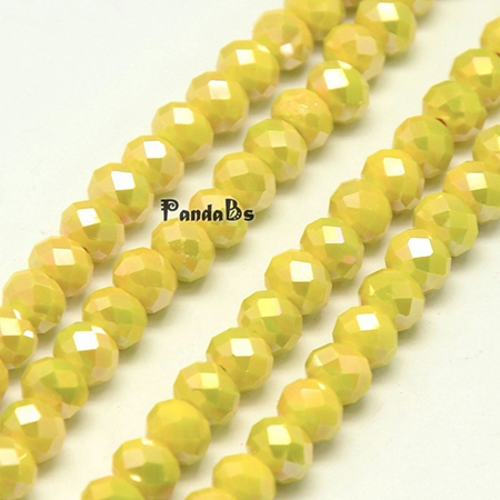 95pcs Seashell Faceted Electroplate Crystal Glass Abacus Beads AB Color Opaque