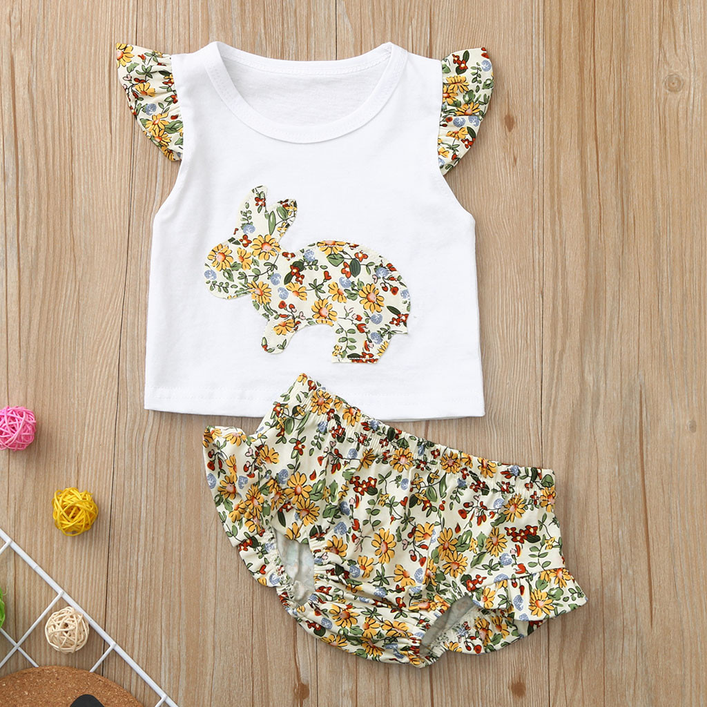 MUQGEW Baby Girl Clothes Toddler Baby Kids Girls Floral Rabbit Print Tops Ruffles Print Shorts Set Dropshipping Roupa Infantil