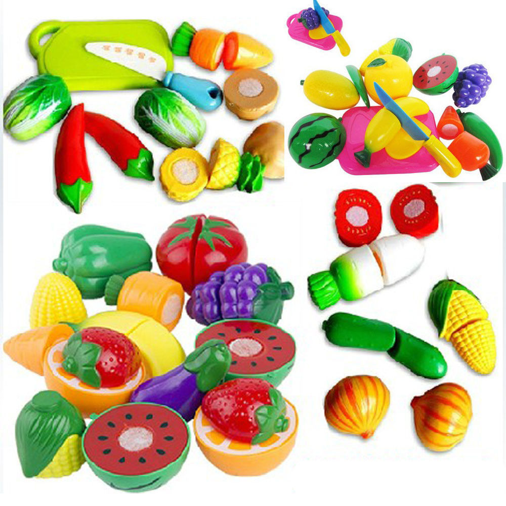 1 Set Plastic Kitchen Food Play Toy Cutting Pretend Fruit