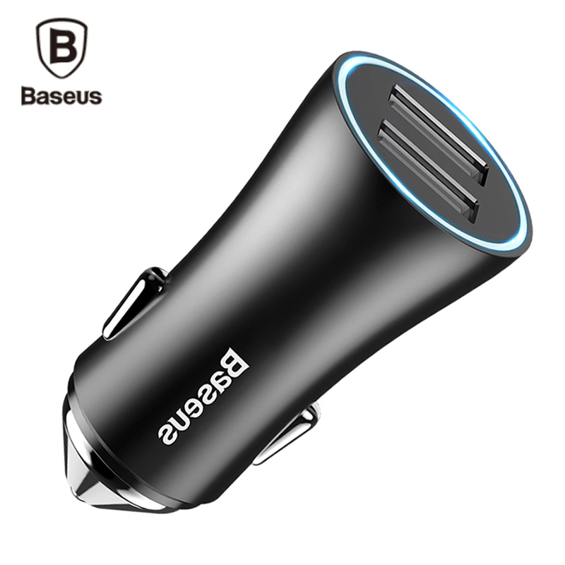 Baseus Dual Port USB Car Charger 2.4A Fast Charge Adapter For iPhone Xiaomi Samsung Metal Mini USB Car-Charger For Mobile Phone