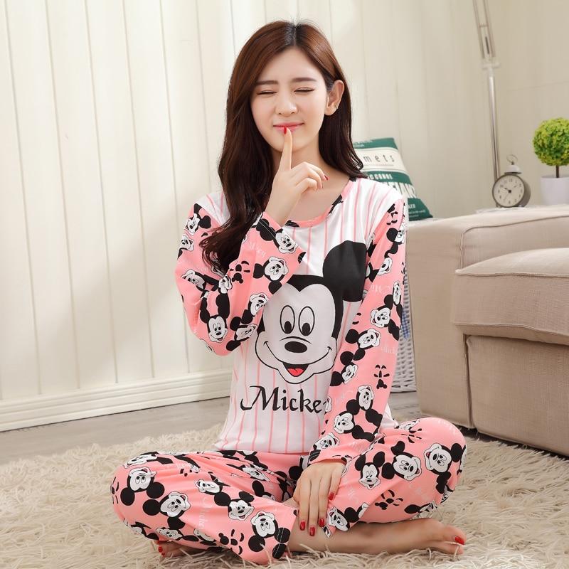 Free Shipping Pajama Sets Long Sleeve Women Sleepwear New 2018 Spring Carton Cotton Pajamas Mujer Women Home Clothes Wholesale