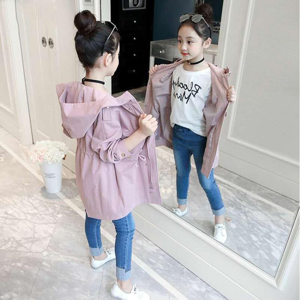 Новая модная однотонная куртка с длинными рукавами на весну и осень для девочек От 4 до 13 лет детские куртки для девочек верхняя одежда