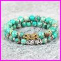 2pcs chrams jewelry 8mm beads bracelet gold/silver plated skull head green regalite Lava stone beads men's bracelet
