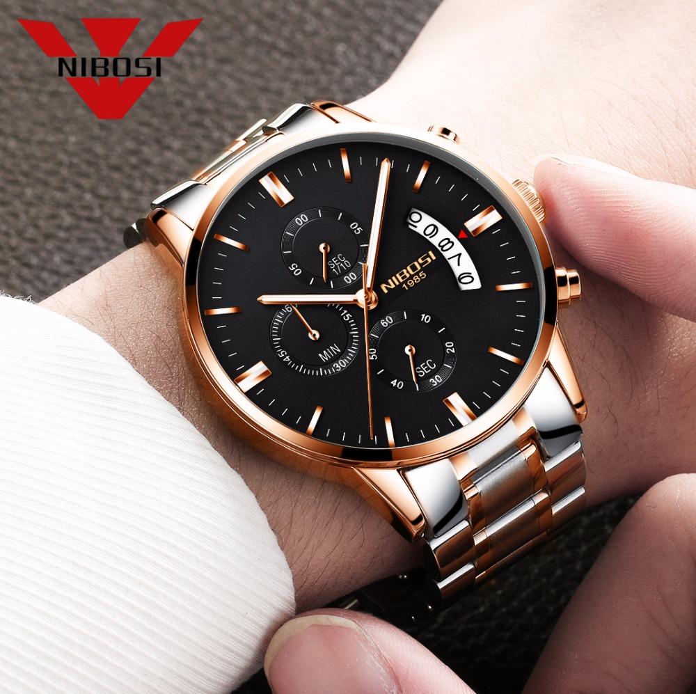 Relojes de hombre NIBOSI Relogio Masculino, relojes de pulsera de cuarzo de estilo informal de marca famosa de lujo para hombre, relojes de pulsera Saat 13