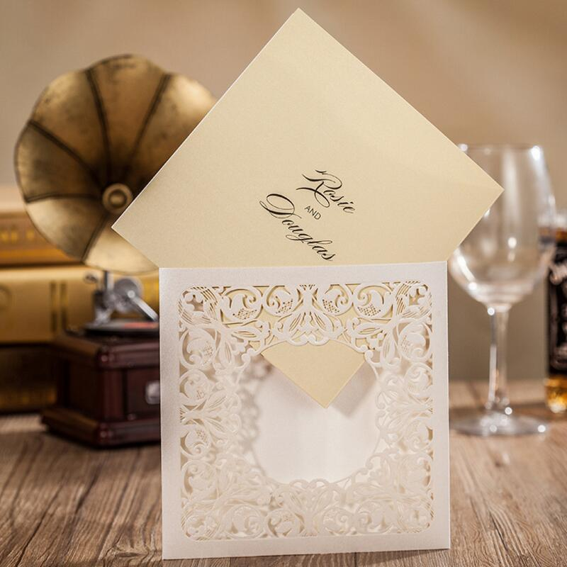 50pcs/pack Luxury White Laser Cut Wedding Invitations Card Free Personalized & Customized Printing Wedding Cards Free Shipping 50pcs pack laser cut wedding invitations cards elegant flowers free printing birthday party invitation card casamento