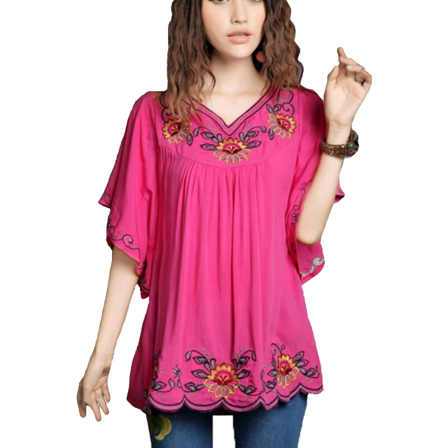 2016 New Hot Vintage 70s Mexican Ethnic Floral Hippie Women Blouses Shirt Female Clothing Tops