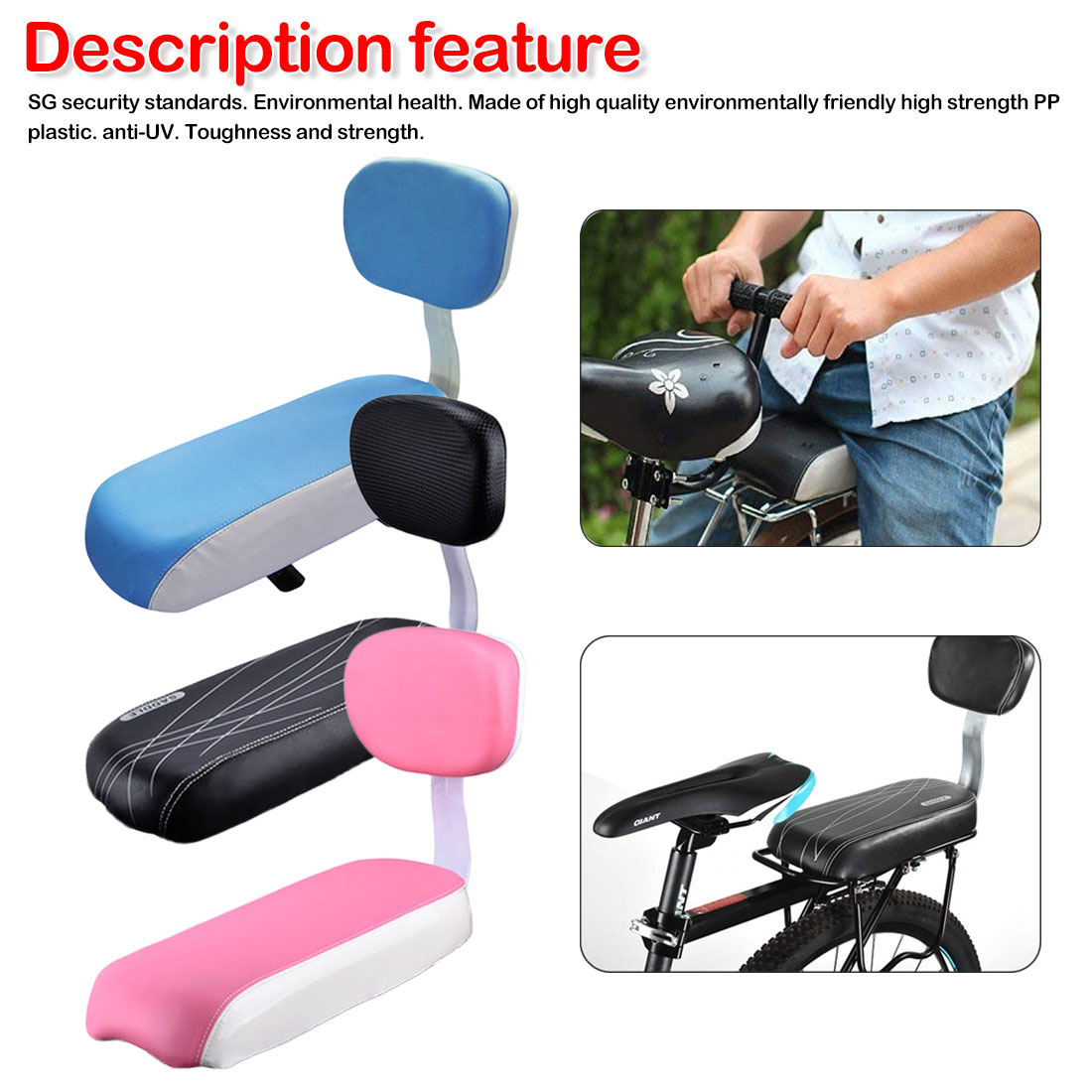 Road Mountain Bike Bicycle Rear Seat Sponge Cushion With Backrest Soft And Wearable Riding Equipment Accessories
