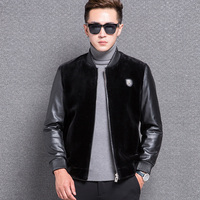Free shipping 2018 Men splicing leather jacket autumn and winter new High Quality Fur Coat shorn sheepskin Large Size Overcoat
