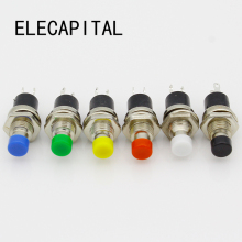 10Pcs 7mm Thread Multicolor 2 Pins Momentary Push Button Switch