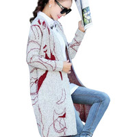 Hot 2016 Autumn Sweater Print Beauty Head Loose Cardigan Women Sweaters Long Sleeve Knee Length Coats