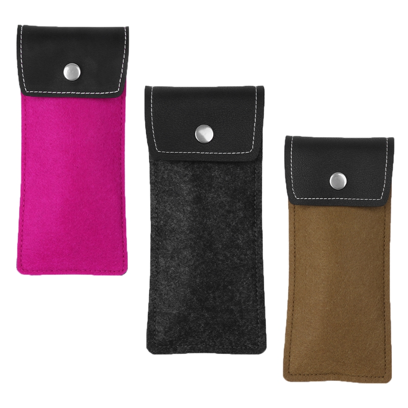 Lightweight Leather Wool feltbags Sunglasses Bag Eyeglass Cases for Women Men Eyewear Po ...