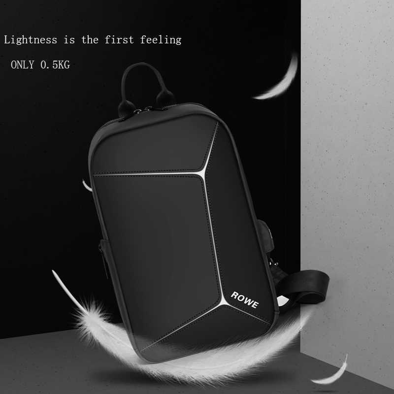 FRN NEW USB Charging Chest Pack Men Casual Shoulder Crossbody Bag Chest Bag Water Repellent Travel Messenger Bag Male Sling Bag