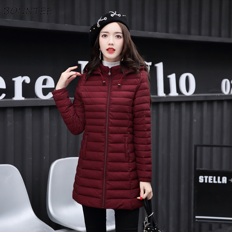 Parkas   Women Large Size Simple All-match Winter Warm Thicker Elegant Hooded Ladies Slim Leisure Womens Pockets Daily Trendy Chic